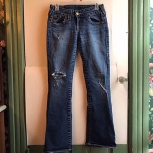 TRUE RELIGION Distressed Ripped Bootcut Jeans 27